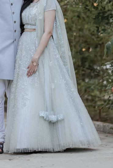 Ice blue bridal lehenga
