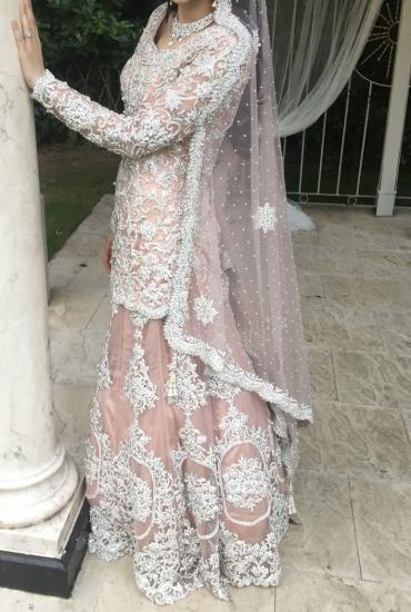 Dusty pink wedding lengha